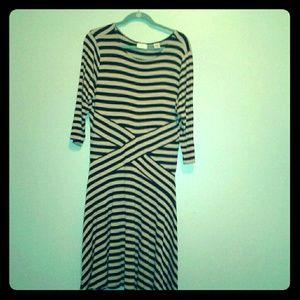 ECI Khaki/black stripped dress sz. XL